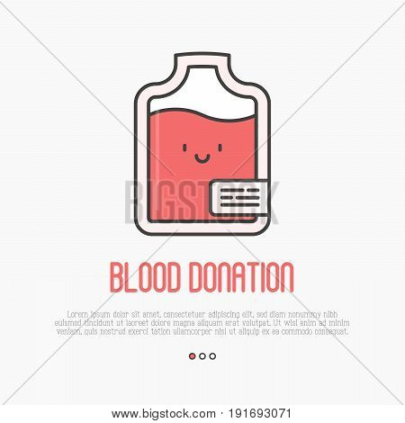 Blood donation concept: thin line blood bag icon with happy face. Vector illustration.