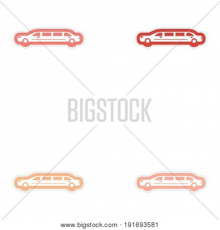 Set of paper stickers on white background wedding limousine