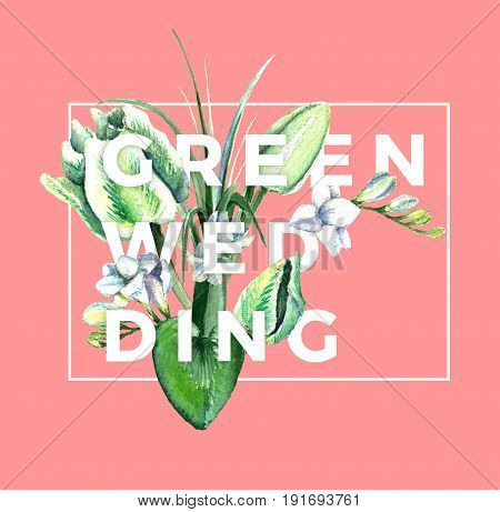 Watercolor hand drawn white and green parrot tulips, freesia, eucalyptus, lilly leaves and cyclamen composition wiyh letters. Decorative floral composition for wedding design. Green wedding.