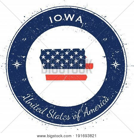 Iowa Circular Patriotic Badge. Grunge Rubber Stamp With Usa State Flag, Map And The Iowa Written Alo