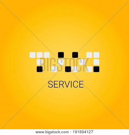 Taxi logo with cubes. Taxi service. Public transport symbol.