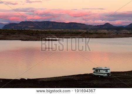 Camper Parked on Lake Pleasant Shoreline in Arizona