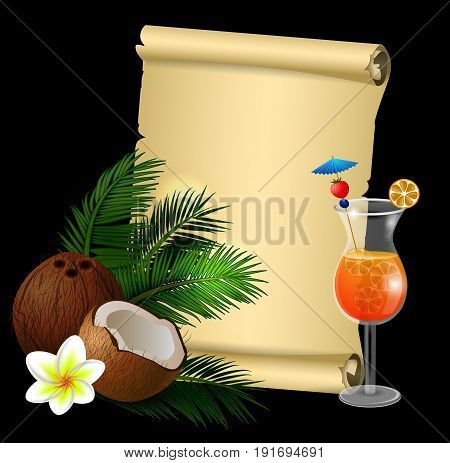 Coconut tropical nut fruit with cut vector illustration isolated with old grange paper roll on black with plumeria flower and glass of beverage