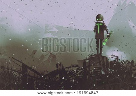 black robot holding a mechanical arm standing on a pile of spare parts digital art style, illustration painting