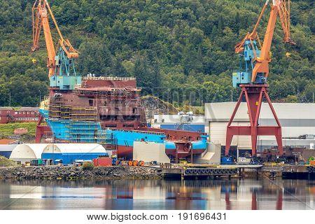 Anchor Handling Vessel Being Built At Shipyard