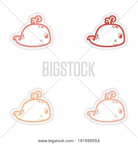 Set paper stickers on white background whale with fountain
