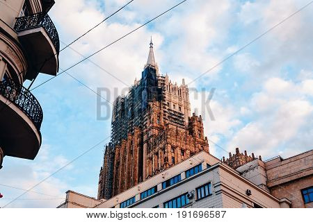 Moscow, Russia- June 12, 2017: Arbat Street. Reconstruction of the Stalin high-rise building
