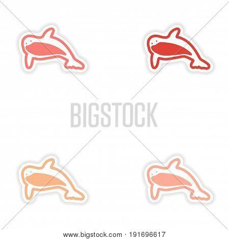 Set paper stickers on white background killer