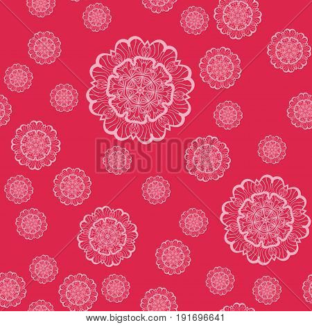 Pink Mandala Shapes Geometric Seamless Pattern. Repeating Background Texture in Pink Colour. Stylish Vector Illustration Print.