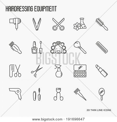 Hairdressing equipment, hair salon, barber shop thin line icons. Vector illustration