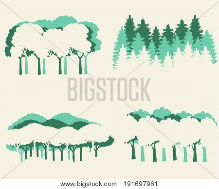 Pine forest trees vector eps 10 great