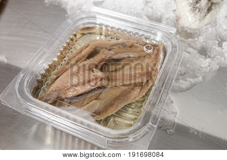 Anchovies On Ice At The Fish Market.
