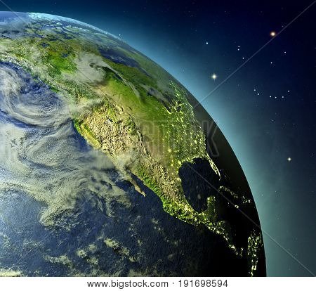 North America From Earths Orbit
