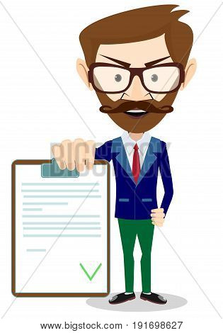 Man in a suit, businessman or manager, hold Contract. Illustration, vector flat
