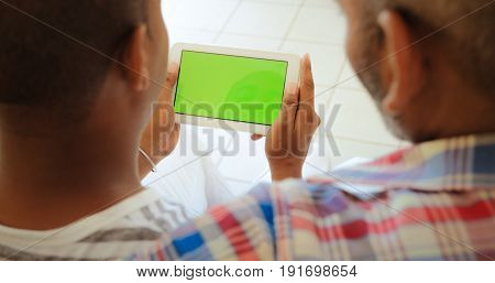 Chroma Key Tablet Monitor With Gay People Using Internet