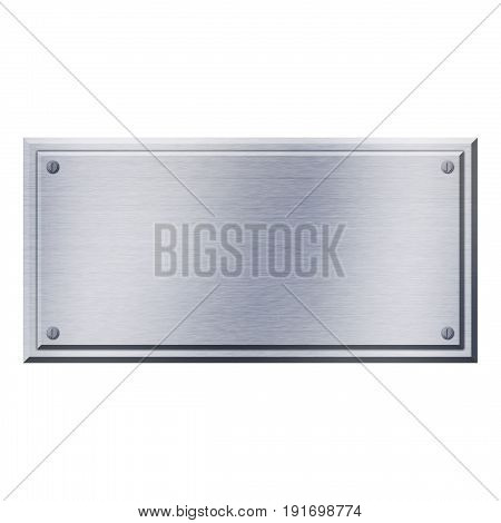 isolated shiny steel metal plate with rivets