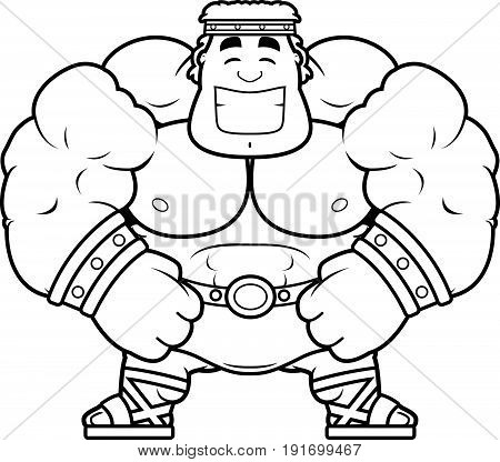 A cartoon illustration of Hercules smiling and happy.