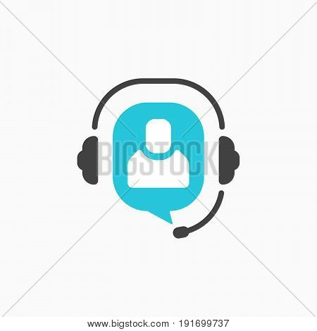 Customer support helpdesk symbol, hotline communication emblem, assistant operator phoning badge, abstract headphones, bubble speech, agent user talking, flat icon modern design sign.