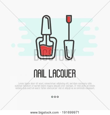 Red nail lacquer icon for logo of manicure salon or master. Thin line vector illustration.