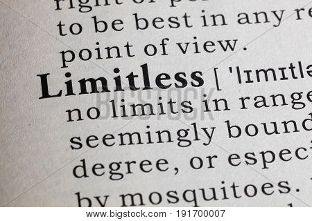Fake Dictionary Dictionary definition of the word Limitless.