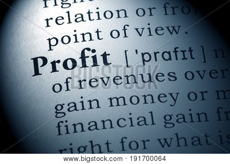Fake Dictionary Dictionary definition of the word profit.