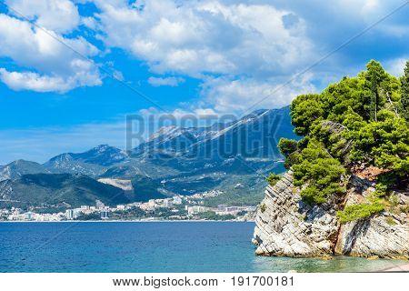 Beautiful mediterranean landscape - town Budva, Montenegro