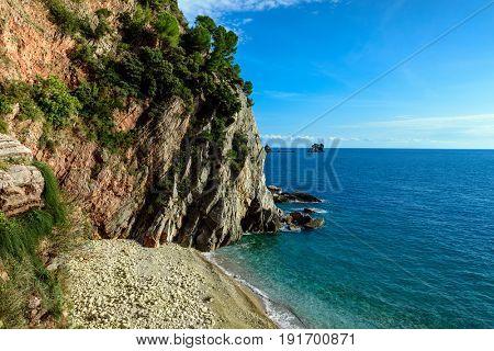 Panoramic landscape of Budva riviera. Balkans, Adriatic sea, Europe.