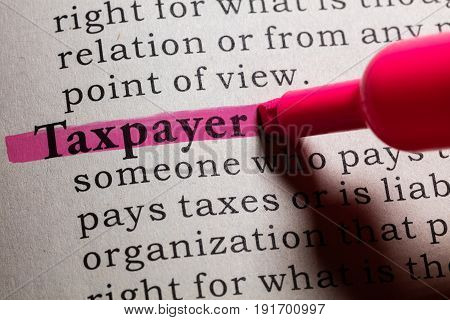 Fake Dictionary Dictionary definition of the word taxpayer.