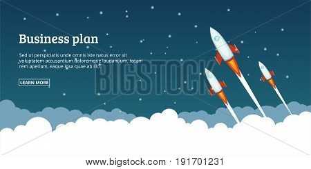 Business plan launching banner horizaontal concept. Cartoon illustration of business plan launching banner horizontal vector concept for web
