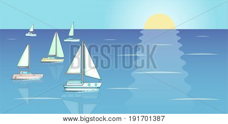 Yachts regatta banner horizaontal concept. Cartoon illustration of yachts regatta banner horizontal vector concept for web