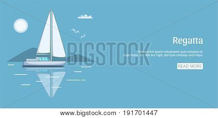 Regatta sail boat banner horizaontal concept. Cartoon illustration of regatta sail boat banner horizontal vector concept for web