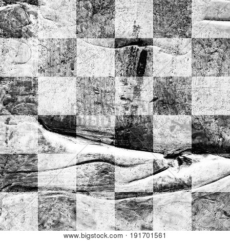 Grunge chess textured abstract checkered pattern. Checkered finish flag painted with acrylic and oil paints in gray black and white on canvas. Rows squares with distressed vintage texture