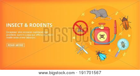Insect rodents banner horizaontal concept. Cartoon illustration of insect rodents banner horizontal vector concept for web