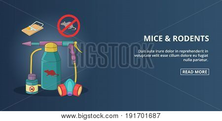Mice and rodents banner horizaontal concept. Cartoon illustration of mice and rodents banner horizontal vector concept for web