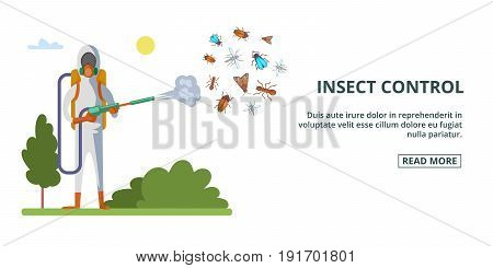 Insect control banner horizaontal concept. Cartoon illustration of insect control banner horizontal vector concept for web