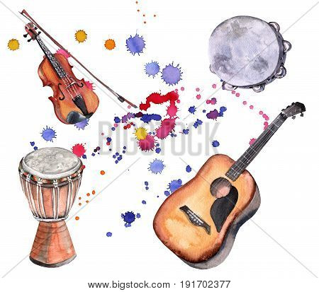 Musical instruments. Violin, guitar, drum and tambourine. Isolated on white background. Watercolor illustration