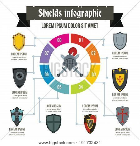 Shields infographic banner concept. Flat illustration of shields infographic vector poster concept for web