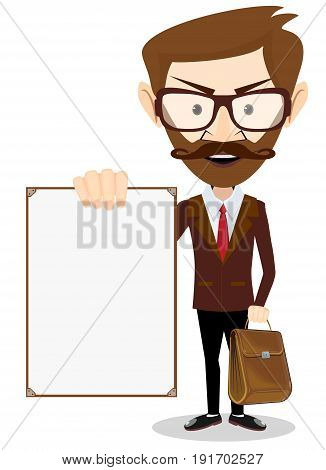 Man holding a blank poster. Stock vector illustration for poster, greeting card, website, ad, business presentation, advertisement design.