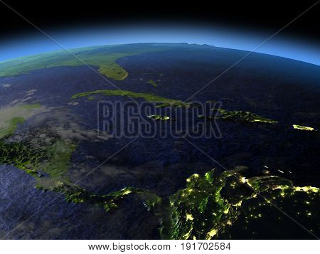 North Caribbean At Night