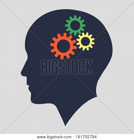 Silhouette head with gears vector.Human head working concept