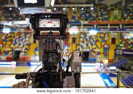MOSCOW - APR 7, 2017: Professional camera before basketball game Euroleague CSKA Moscow (Russia) - Olympiakos (Greece) in Megasport stadium
