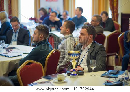 MOSCOW - APR 20, 2017: Listeners at practical business conference Second breath of real estate market in Moscow business club in Congress-park Volynskoe