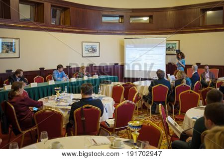 MOSCOW - APR 20, 2017: Practical business conference Second breath of real estate market in Moscow business club in Congress-park Volynskoe