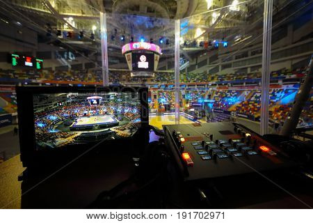 MOSCOW - APR 7, 2017: Remote control sound recordist in Megasport stadium, construction of the stadium was completed in 2006, number of seats is 14 thousand