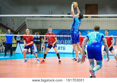 MOSCOW - APR 8, 2017: Passer passes ball at match of Russian Volleyball Championship Dynamo (Moscow) - Nova (Novokuibyshevsk) in Palace of Sports Dynamo