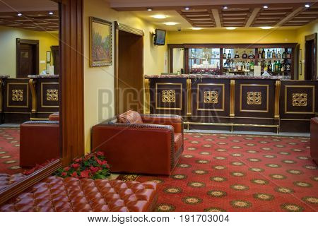MOSCOW - APR 20, 2017: Bar in Congress-park Volynskoe, in separate buildings of congress Park Hotel there are 3 large halls for meeting and restaurant