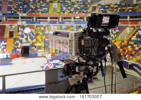 MOSCOW - APR 7, 2017: Camera before basketball game Euroleague CSKA Moscow (Russia) - Olympiakos (Greece) in Megasport stadium