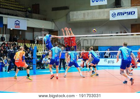 MOSCOW - APR 8, 2017: Players during game of Russian Volleyball Championship Dynamo (Moscow) - Nova (Novokuibyshevsk) in Palace of Sports Dynamo