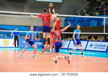 MOSCOW - APR 8, 2017: Attack of first tempo at match of Russian Volleyball Championship Dynamo (Moscow) - Nova (Novokuibyshevsk) in Palace of Sports Dynamo