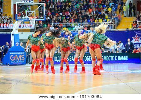 MOSCOW - APR 7, 2017: Cheerleaders at basketball game Euroleague CSKA Moscow (Russia) - Olympiakos (Greece) in Megasport stadium
